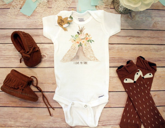 I Love My Tribe esie Boho Baby Clothes Baby by BittyandBoho