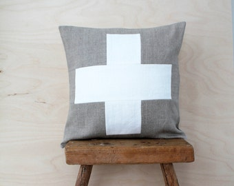 Swiss Cross Pillow Cover, Decorative Pillow Cover, Linen Pillow, Patchwork Pillow, Colourblock Pillow, Eco Friendly, Sustainable, Handmade
