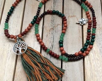 Tassel necklace tassel chain forest Brown green tassel tree