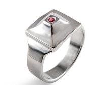 SALE 20% Off - PYRAMID Ring, Unique Men's Ring, Sterling Silver Men's Ring, Men's Ruby Ring, Men's Silver Ring, Silver Ruby Ring, Egyptian R