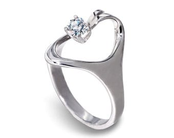 ASET Sterling Silver CZ Engagement Ring, Cubic Zirconia Ring, Silver CZ Ring, Promise Ring, Unique Silver Ring