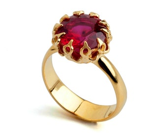 CROWN Gold Ruby Ring, Ruby Engagement Ring, Ruby Promise Ring, Large Ruby Ring, Gold Statement Ring, Ruby Solitaire Ring