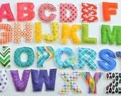 Uppercase Fabric Letters - Rainbow/Multi