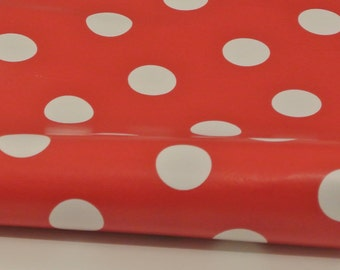 Oilcloth water resistant fat quarter: red polka dot