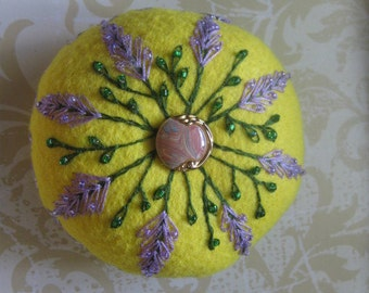 Yellow Felt Handmade Pincushion with Embroidered Flowers and Beads
