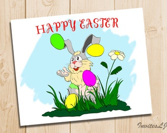 Easter Card - Funny Bunny Rabbit - Easter Rabbit Print - Happy Easter Printable - Easter Bunny Card