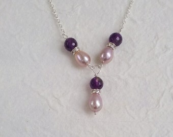 Sterling silver necklace, pink freshwater pearls, amethyst gemstones; bridesmaid, prom, maid of honor