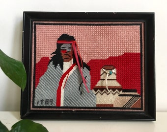 "Vintage 1989 Framed Native American Navajo Needlepoint Cross Stitch Embroidery 6.5"" x 8"""