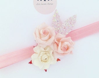 Flower crown, pink flower,cream flower, flower headband,girls hair accessories, baby headband, pink glitter