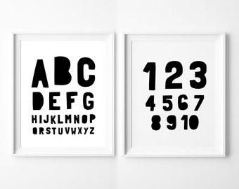 Nursery Printable Set of 2 – Alphabet and Numbers, Monochrome Printable Kids Room Wall Art Decor, Instant Download *DIY PRINT*