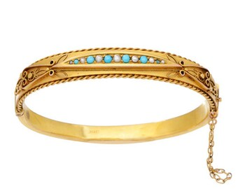 Victorian Yellow Gold, Turquoise and Pearl Bangle
