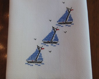 Cross Stitched Embroidered Hand Towel with Blue Sailboats