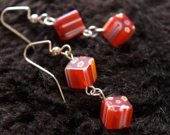 Long Red Beaded Dangle Earrings