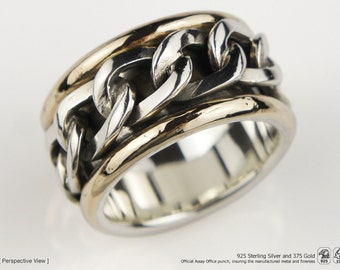 Rotating / Spinner RING 925 Sterling Silver and 9k Gold (PRE ORDER)