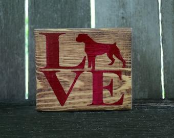 Dog Sign, Wood Sign, Vinyl Lettered Sign, Stained Wood Sign, Dog Lover Gift, Shelf Sitter Block, Dog Lover Sign