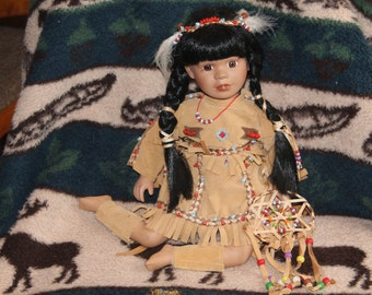 Collectible Native-American Doll of Porcelain