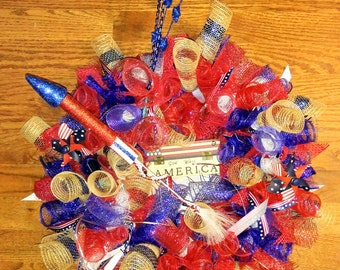 Patriotic, 4th of July, memorial day usa deco mesh wreath