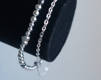 Silver plated bracelet, antic silver, hematite, silver plated chain