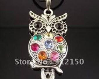 owl pendant charm rhinestone colorful