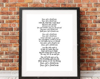 You've Got a Friend in Me | Toy Story Lyrics | Hand-lettered calligraphy song lyrics | Gift for Friend
