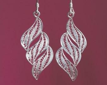 Filigree Earrings Silver Cascade Leaf Cascade Earrings Cascade Earrings Precious Filigree Earrings Filigree Cascade WLC38