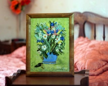 """Picture Embroidery """"Summer flowers in vase"""" 3D Artwork satin and silk ribbons"""