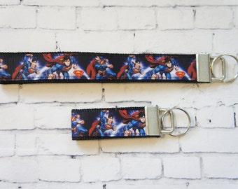 SUPERMAN key Fob, Superhero  key chain, wristlet keychain, Kids key FOB, Star Wars ribbons. Kids, Gift, comic, TV