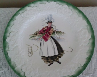 French Costume 18th. Centry Embossed Ceramic Plate*White With Green Border: By. Alfred Meakin* England