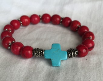 Esther - Turquoise Cross Bracelet With Red Beads