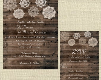 rustic  lace wedding invitation and rsvp