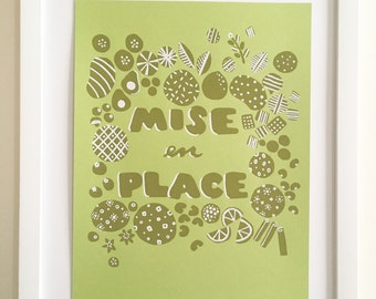Mise En Place // Art Print, 8.5 x 11 // Hand Silkscreened, Screenprinted, Foodie, Chef, Cooking, Gift, Kitchen Art