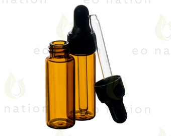 1 dram amber dropper vials (12 pack)