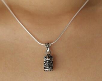 Silver tibetan cask pendant, Sterling Silver chain, Silver oxidized pendant,  Silver necklace, 925 silver, Bohemian necklace (P 45)