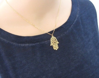 Hamsa necklace, gold necklace, hand pendant, 14k gold filled, jewelry gift, charm necklace, protection jewelry