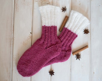 Knit socks women Alpaca wool knit socks Magenta socks Warm winter socks Home socks Warm wool socks Knit home socks