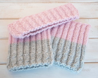 Womens boot cuffs headband set Wool boot socks Alpaca boot cuffs headband Pink leg warmers Gray boot cuffs Knit ear warmer Cute gift for her