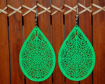Earrings ' original green filigree earrings