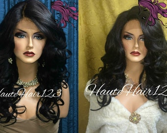 Human Hair Blend Dark Brown Off Black Lace Front Realistic Wig