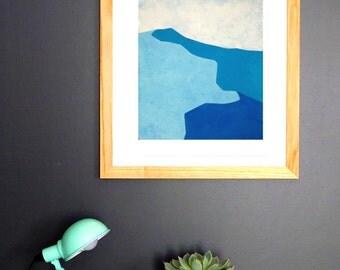 Dunes n.3 - Fine Art  Giclée Print - Blue Abstract Landscape Painting - Wall Art