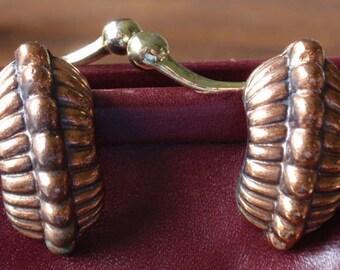 Solid Copper Design Clip Earrings