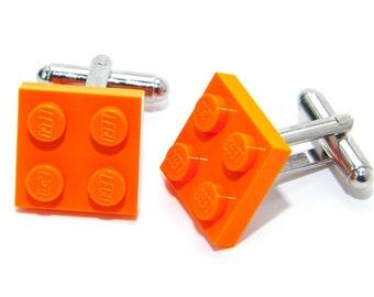Orange Lego Plate Cufflinks Wedding Cuff Link Gift Birthday With Gift Bag