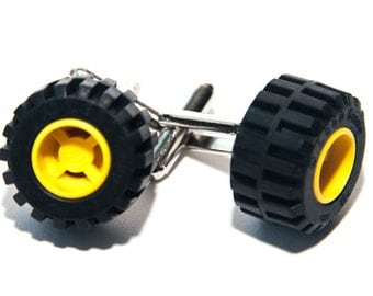 Yellow Lego Wheel Brick Cufflinks With Gift Bag Car Tyre Brick