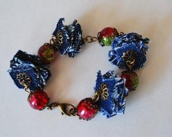 Handmade bracelet. ball and jeans