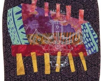 Piston, textile collage by Darcy Falk