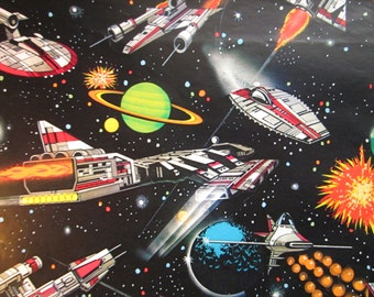 Vintage Gift Wrap Space Ships