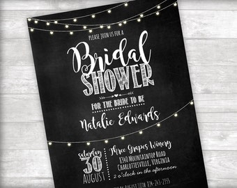 Chalkboard Bridal Shower Invitation Printable