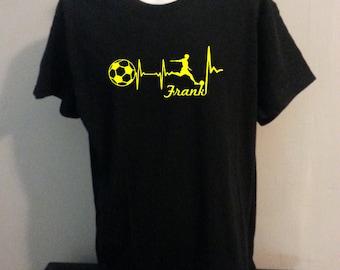 Boy Soccer personalized heartbeat shirt Tshirt
