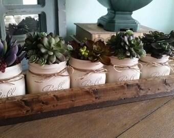 Mason Jar Centerpiece - Succulent Plant Decor - Succulent plants - Mason jar table decor - Rustic Mason Jar Centerpiece - Rustic Home Decor