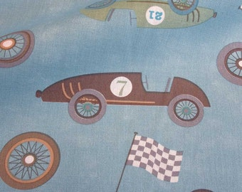 cotton fabric race cars notalgic washed out blue
