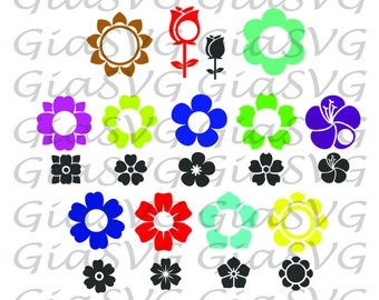 Flowers Monogram SVG, flowers clipart svg, ready to cut files for Cricut | Silhouette etc, also in png, eps & DXF
